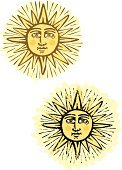 Sun,Woodcut,Human Face,Old,Old-fashioned,Grunge,Symbol,Engraved Image,Astronomy,Antique,Star - Space,Distressed,Nature,Religious Icon,Heat - Temperature,Anthropomorphic Face,Vector Icons,Illustrations And Vector Art,Damaged,Star Shape