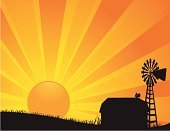 Farm,Barn,Sunrise - Dawn,Windmill,Rooster,Silhouette,Breakfast,Non-Urban Scene,Rural Scene,Vector,Sun,Morning,Field,Backgrounds,Ilustration,Sunbeam,Beginnings,Dawn,Sunlight,Back Lit,Summer,New Life,Day,Autumn,Orange Color,Sky,Hope,Nature Backgrounds,Vector Backgrounds,Nature,Illustrations And Vector Art,Landscapes