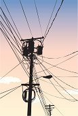 Telephone Pole,Transformer,Telecommunications Equipment,Vector,Street Light,High Voltage Transformer,Vanishing Point,Photo-Realism,Directly Below,Back Lit,Vertical,Industry,Silhouette,Diminishing Perspective,Technology,Communications Technology,Heavy Industry,Telecom,Illustrations And Vector Art,Sky