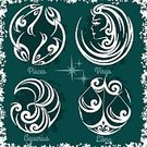 Symbol,Sign,Shiny,Calendar,Circle,Computer Icon,Fortune Telling,Mythology,Illustration,Aquarius- Zodiac Sign,Pisces,Virgo,Libra,No People,Vector,Astronomy,Sparse,2015,Esoteric,Icon Set,Space and Astronomy
