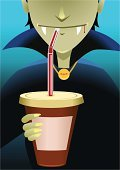 Vampire,Coffee - Drink,Drinking,Halloween,Coffee Cup,Blood,Holding Hands,Cartoon,Bat - Animal,Spooky,Horror,Party - Social Event,Cup,Human Teeth,Holding,Drinks,Vector Cartoons,Claw,Bloodsucking,Pendant,Holidays And Celebrations,Illustrations And Vector Art,Copy Space,Count Dracula,Male Animal,Blood Type,Halloween,Excitement,Mug,Food And Drink