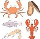 Lobster,Shrimp,Seafood,Crab,Fish,Prepared Crab,Cartoon,Prepared Shrimp,Prepared Shellfish,Food,Vector,Mussel,Prepared Fish,Animal Shell,Animal,Collection,Computer Graphic,Clip Art,Ilustration,Crustacean,Animal Head,Freshness,Open,Tail,Red,Animal Leg,Set,Large Group of Objects,Healthy Eating,White Background,Gourmet,Animals And Pets,Food And Drink,Illustrations And Vector Art,Isolated On White,Orange Color,Pink Color,Color Image