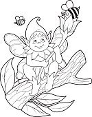 Fantasy,Bee,Flower,Outline,Coloring Book,Illustration,Fairy Tale,No People,Vector,Elf,2015