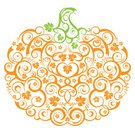 Pumpkin,Halloween,Vine,Lace - Textile,Autumn,Swirl,Vector,Posing,Ornate,Cute,Scroll Shape,Ilustration,October,Isolated,Orange Color,Isolated On White