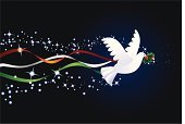 Dove - Bird,Christmas,Symbols Of Peace,Star - Space,Peace On Earth,Holiday,Holly,Vector,Night,Tranquil Scene,Ribbon,Ilustration,Birds,Christmas,Animals And Pets,Illustrations And Vector Art,Holidays And Celebrations
