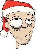 Hangover,Tired,Santa Claus,Emotional Stress,Christmas,Physical Pressure,Cartoon,Human Face,Santa Hat,Exhaustion,Human Head,Office Party,Vector,Stubble,Tearing Your Hair Out,Sketch,Hair Loss,Run-Down,Vector Cartoons,Hand-drawn,Illustrations And Vector Art,Drawing - Art Product,Ilustration,Thanksgiving,Christmas,Celebration,Holidays And Celebrations
