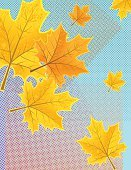 Wind,Textured Effect,Drawing - Art Product,Falling,Blue,Orange Color,Yellow,Pattern,Spotted,Wind,Leaf,Autumn,Maple Tree,Blowing,Illustration,Copy Space,Textured,Half Tone,Vector,Maple Leaf,2015