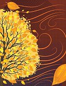 Textured Effect,Drawing - Art Product,Falling,Brown,Orange Color,Yellow,Striped,Tree,Wind,Tree Trunk,Branch,Leaf,Autumn,Blowing,Curve,Illustration,Copy Space,Textured,Vector,Swirl,Single Line,2015