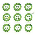 Emotion,Balloon,Smiling,Green Color,Illustration,Vector,2015,Icon Set