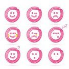 Emotion,Balloon,Smiling,Pink Color,Illustration,Vector,2015,Icon Set