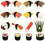 Sushi,Food,Vector,Japanese Culture,Octopus,Sashimi,Asian Cuisine,Tuna,Hand Roll,Rice - Food Staple,Salmon,Seaweed,Vegetable,Meal,Set,Seafood,Cooked,Rolled Up,Gourmet,Maki Sushi,Slice,Eggs,East Asian Culture,Prepared Shrimp,Sake Maki,Healthy Eating,Tamago,Prepared Fish,Raw Food,Avocado,Nori,Cooking,Illustrations And Vector Art,Food And Drink,Vector Icons