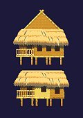 Village,Rural Scene,Residential District,Cottage,Slum,Houseboat,Hotel,Multi Colored,Beach,Hut,Folk Music,Illustration,No People,Vector,Bungalow,Arts Culture and Entertainment,2015