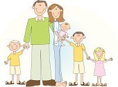 Large,People,Large,Casual Clothing,Happiness,Lifestyles,Looking At Camera,Cheerful,Smiling,Father,Mother,Sibling,Brother,Sister,Family,Family with Four Children,In A Row,Small,Baby,Child,Adult,Illustration,Cartoon,Group Of People,Males,Boys,Females,Women,Girls,Baby Girls,Portrait,Polka Dot,Vector,Relaxation,Large Family