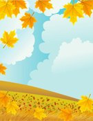 Copy Space,Leaf,Blowing,Non-Urban Scene,Hill,Field,Cloud - Sky,Sky,Maple Tree,Frame,Grass,Wind,Falling,Maple Leaf,Cloudscape,Overcast,Illustration,Drawing - Art Product,Aerial View,Vector,Landscape,Autumn