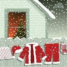 Christmas,Santa Claus,Snow,Christmas Tree,House,Window,Winter,Laundry,Clothing,Home Interior,Vector,Fence,Wood - Material,Hut,Humor,Sock,Ilustration,Night,Pants,Christmas Card,Residential Structure,Coat,Fun,Costume,Christmas Lights,Facade,Indoors,Outdoors,Cold - Termperature,Men's Underpants,Christmas Decoration,Illustrations And Vector Art,Concepts And Ideas,Christmas,Communication,Holidays And Celebrations