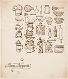 No People,Cup,Doodle,Teapot,Collection,Illustration,Restaurant,2015,Spoon,Kitchen Utensil,Vector,Dinner,Hat
