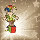 Jack-in-the-Box,Clown,Jester,Music Box,Pop Fly,Toy,Religious Icon,Exploding,Cartoon,Backgrounds,Sketch,Vector,Ilustration,Vector Backgrounds,Vector Cartoons,Isolated-Background Objects,Illustrations And Vector Art,Star Shape,Isolated Objects