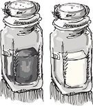 Salt Shaker,Salt,Pepper Shaker,Sketch,Two Objects,Ilustration,Group of Objects,Monochrome,Vector,Man Made Object,Pen And Wash,Grayscale,Objects/Equipment,Illustrations And Vector Art,No People