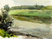 Watercolor Painting,Landscape,Paintings,Abstract,Art,Sketch,Nature,Backgrounds,Painted Image,Paint,Drawing - Art Product,River,Water,Green Color,Ilustration,Summer,Plant,Outdoors,essay,No People,Arts And Entertainment,Nature,Nature Abstract,Landscapes,Visual Art