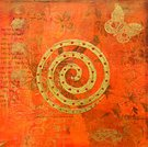 India,Butterfly - Insect,Textured,Paintings,Art,Spiral,Collage,Orange Color,Painted Image,Gold Colored,Ilustration,Red,Acrylic Painting,Color Image,Art Product,Arts Abstract,Arts Backgrounds,Visual Art,Arts And Entertainment