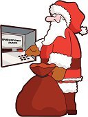 Santa Claus,ATM,Poverty,Currency,Christmas,Bankruptcy,Sack,Humor,Credit Card,Recession,Cartoon,Fun,Gift,Isolated,Paper Currency,Isolated On White,Vector,Consumerism,Celebration,Ilustration