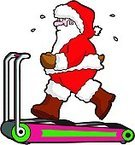Santa Claus,Exercising,Christmas,Treadmill,Running,Jogging,Overweight,Healthy Lifestyle,Holiday,Humor,Cartoon,Weight,Ilustration,Vector,Tired,Fun,Sweat,Isolated On White,National Holiday,One Person,New Year's Eve,Determination,Isolated,Celebration