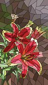 Vertical,Mosaic,Stained Glass,Plant,Window,Glass - Material,Flower,Bush,Leaf,Flower Head,Petal,Bud,Lily,Summer,Decoration,Art And Craft,Art,Ornate,Abstract,Blossom,Illustration,Cartoon,No People,Vector,Fashion,Arts Culture and Entertainment,2015