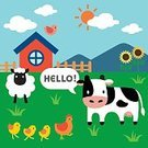 Animal,Farm,Cow,Sheep,Chicken - Bird,Cute,Illustration,No People,Vector,Domestic Cattle