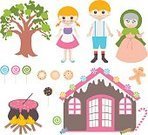 Fantasy,History,Basket,Candy,Ice Cream,Book,Sibling,Sister,Shape,Pink Color,Dog,Tree,Leaf,Forest,Decoration,Childhood,Backgrounds,Poverty,Child,Picture Book,Cute,Witch,Mythology,Judy Puppet,Illustration,Fairy Tale,Boys,Females,Vector,Hansel,Background,2015,Step-Mother,Frozen Food