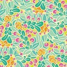 Abstract,Repetition,Color Image,No People,Plant,Ornate,Summer,Illustration,Leaf,2015,Berry Fruit,Seamless Pattern,Decoration,Season,Backgrounds,Vector,Drawing - Art Product,Pattern