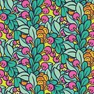 Drawing - Art Product,Plant,Shape,Pattern,Leaf,Season,Summer,Decoration,Backgrounds,Repetition,Berry Fruit,Color Image,Ornate,Abstract,Illustration,No People,Vector,2015,Seamless Pattern