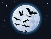Bat - Animal,Full Moon,Moon,Halloween,Flying,Moon Surface,Spooky,Horror,Star - Space,Fear,Moonlight,Halloween,Vector Backgrounds,Nature Backgrounds,Nature,starry night,Illustrations And Vector Art,Holidays And Celebrations
