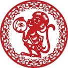 Cut,Computer Graphics,Symbol,Sign,Asia,China - East Asia,Design,Animal,Traditional Festival,Red,New,Paper,Cultures,Chinese Culture,Ape,Monkey,Moon,Decoration,Cutting,Computer Graphic,Art And Craft,Art,Astrology Sign,Illustration,East Asian Culture,No People,Vector,Astronomy,2016,2015,Space and Astronomy