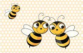 Bee,Honeycomb,Love,Envy,Embracing,Black Color,Three Animals,Yellow,Disappointment,Loving,Flirting,Sadness,Insects,Vector Backgrounds,Illustrations And Vector Art,Animal Antenna,Dating,Wing,Animals And Pets