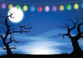 chain of lights,Copy Space,Evil,Celebration,Spooky,Mystery,Silhouette,Background,Full,Holiday - Event,Cartoon,Full,Moon,Moonlight,Illustration,Full Moon,Sky,Star - Space,October,Lighting Equipment,2015,Autumn,Night,Horror,Illuminated,Chain,Backgrounds,Halloween,Star Shape,Tree,Vector,Party - Social Event,Dark,Black Color
