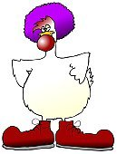 Cartoon,Clown,Chicken - Bird,Shoe,Displeased,Wig,Beak,Front View,Vertical,Feelings And Emotions,Humor,Concepts And Ideas,Poultry,Tail,Anthropomorphic,Bird,Animals And Pets,Birds,No People,One Animal,Color Image,Ilustration,Wing