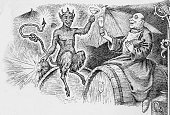 Beer - Alcohol,Devil,Wine,Monk - Religious Occupation,Drinking,Halloween,Alcoholism,Barrel,Old-fashioned,Engraved Image,Drink,Demon,Drunk,Celebratory Toast,Alcohol,Hell,Cellar,Humor,Keg,Substance Abuse,Spirituality,Religion,Friar,Mulled Wine,Eccentric,Evil,Catholicism,Cartoon,Seven Deadly Sins,Christianity,Temptation,Basement,Cheering,Lake Mead,Speculative Being,Characters,Concepts And Ideas,Illustrations And Vector Art,Beer Barrel,People,Vitality,Religious Occupation,wine barrel