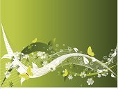 Butterfly - Insect,Wave Pattern,Flower Head,Abstract,Floral Pattern,Art Product,Green Color,Flower,Backgrounds,Decoration,Beauty In Nature,Nature,Computer Graphic,Beauty,Art,Vector,Creativity,Arts Backgrounds,Ilustration,Wallpaper Pattern,Arts And Entertainment,Flowers,Nature,Illustrations And Vector Art,Design,Branch