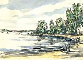 Watercolor Painting,Fisherman,Outdoors,Watercolor Paints,Sky,Urban Skyline,Sand,Horizontal,Fishing,Summer,Photography,Beach,River,Nature,Sketch,Paintings,2015,Day,Cloud - Sky,Single Line