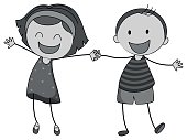Computer Graphics,Image,Friendship,Smiling,Holding Hands,Small,Childhood,Backgrounds,Computer Graphic,Child,Illustration,Boys,Doodle,Vector,Background,Single Object,2015,Clip Art,81352