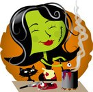 Witch,Halloween,Cooking,Stew,Horror,Spooky,Halloween,Cooking,Vector Cartoons,Grotesque,Food And Drink,Illustrations And Vector Art,Holidays And Celebrations