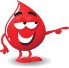 Blood,Drop,Cartoon,Characters,Mascot,Pointing,Mischief,Smiling,Vector,Cheerful,Happiness,Ilustration,Red,Isolated On White