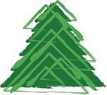 Tree,Christmas,Abstract,Gift,Funky,Striped,Triangle,Holiday,Rough,Green Color,Illustrations And Vector Art,Fun