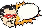 Superhero,Comic Book,Heroes,Cartoon,Humor,Exploding,Mask,Talk,Speech,Discussion,Talking,Comic Bubble,Text Bubble,Comic Balloon
