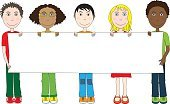 People,Happiness,Sign,Cheerful,Caucasian Ethnicity,Chinese Ethnicity,African-American Ethnicity,Multi-Ethnic Group,Smiling,Holding,Empty,Child,Illustration,Cartoon,Blank,Copy Space,Group Of People,Boys,Girls,Vector,African Ethnicity,Banner - Sign,2015,Banner,Empty
