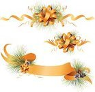 Christmas,Banner,Bow,Gold Colored,Ribbon,Holiday,Pine Cone,Evergreen Tree,Vector,Ilustration,Clip Art,Set,Isolated Objects,Christmas,Isolated-Background Objects,Holidays And Celebrations,Illustrations And Vector Art,No People,Copy Space,Isolated