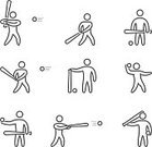People,Activity,Symbol,Sign,Sport,Hitting,Shape,Swinging,Straight,Outline,Illustration,Group Of Objects,Vector,2015