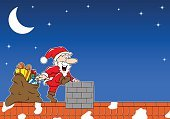 Happiness,Gift,Bag,Cheerful,Chimney,Roof,Christmas,Star Shape,Sky,Space,Moon,Star - Space,Winter,Night,Snow,Backgrounds,Santa Claus,Sack,Illustration,Celebration,Cartoon,Copy Space,Vector,Characters,Holiday - Event,December,Background,2015