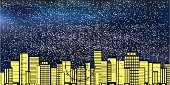 Town,City,Electric Lamp,Street,Christmas,Material,Sky,Light - Natural Phenomenon,Winter,Night,Snow,Snowflake,Backgrounds,Scenics,Skyscraper,Illustration,No People,Vector,2015
