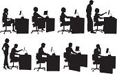Silhouette,Computer,Office Interior,Desk,People,Business,Men,Computer Programmer,Women,Secretary,Vector,Typing,Customer Service Representative,Businessman,Outline,Business Person,Cartoon,Female,Businesswoman,Black Color,Male,Clip Art,Ilustration,Design,Sketch,Isolated,White Background,Collection,Large Group of Objects,Adult,Cut Out,Computer Operator,Digitally Generated Image,Design Element,Isolated On White,Digital Composite,Illustrations And Vector Art
